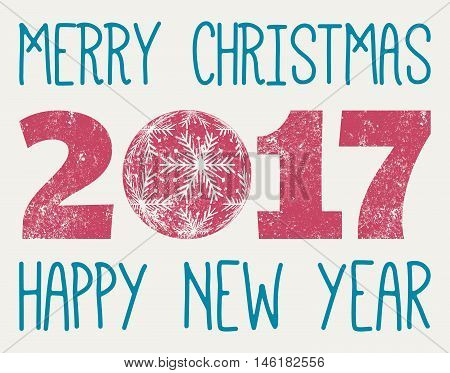Merry Christmas Happy New Year 2017 with christmas snowy ball vintage year 2017