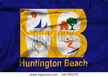 Waving Flag Of Huntington Beach, California, Usa