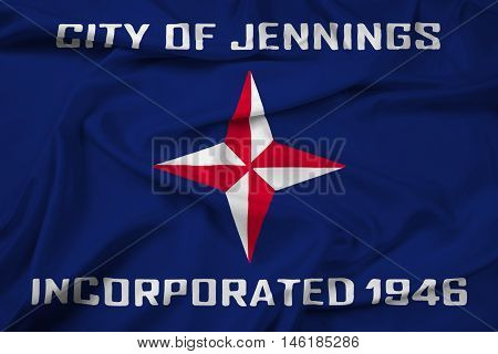 Waving Flag of Jennings Missouri USA, with beautiful satin background. 3D illustration