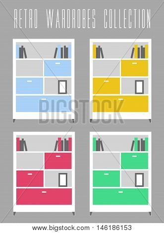Retro Wardrobes Collection. Vector illustration grey background. Vintage and retro theme four color variants of wardrobe to choose.