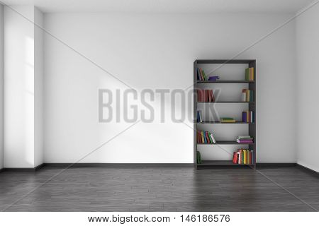 Empty room with white wall black wooden parquet floor and black wooden bookshelf with books on shelves with light from window on the wall and parquet floor minimalist interior 3D illustration