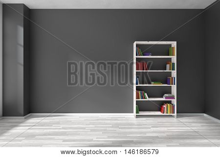 Empty room with black wall white parquet floor and white bookshelf with many color books on shelves with light from window on black wall and parquet floor minimalist interior 3D illustration
