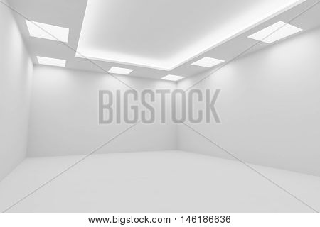 Abstract architecture white room interior - empty white room with white wall white floor white ceiling with square ceiling lamps and hidden ceiling lights diagonal view 3d illustration