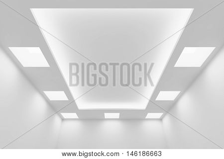 Abstract architecture white room interior - ceiling of empty white room with white wall white ceiling with square ceiling lamps and hidden ceiling lights and empty space 3d illustration