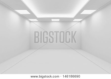 Abstract architecture white room interior - empty white room with white wall white floor white ceiling with square ceiling lamps and hidden ceiling lights and empty space 3d illustration