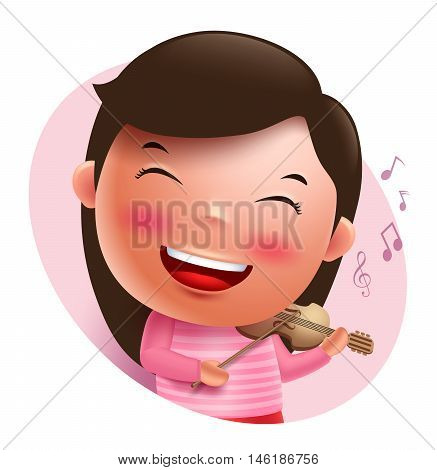 Young violinist vector character singing and holding violin isolated in white background. Vector illustration.