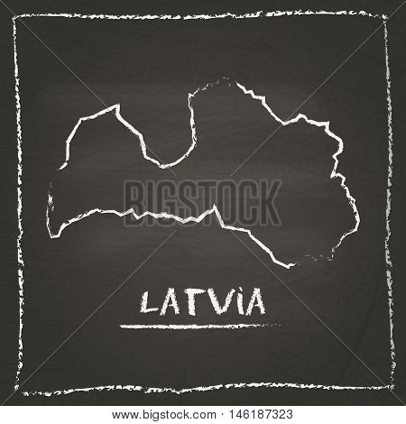 Latvia Outline Vector Map Hand Drawn With Chalk On A Blackboard. Chalkboard Scribble In Childish Sty