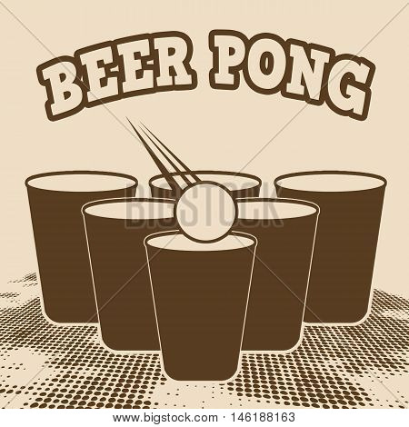 Beer pong grunge poster on retro style vector illustration