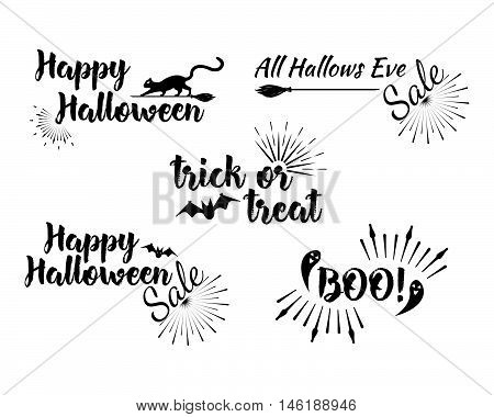 Halloween Set Of Greeting Card Calligraphy With Sunrays. Sunburst Happy Halloween Banner Or Poster.