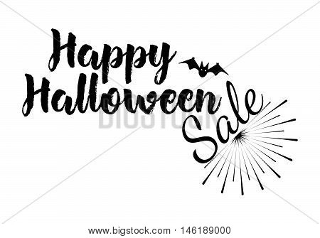 Sale Greeting Card Calligraphy With Sunrays. Sunburst Happy Halloween Banner Or Poster. Vector Illus