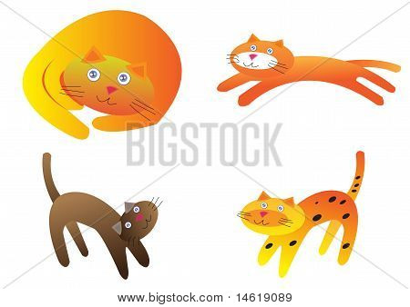 Assorted Cute Cat With Isolated White Background
