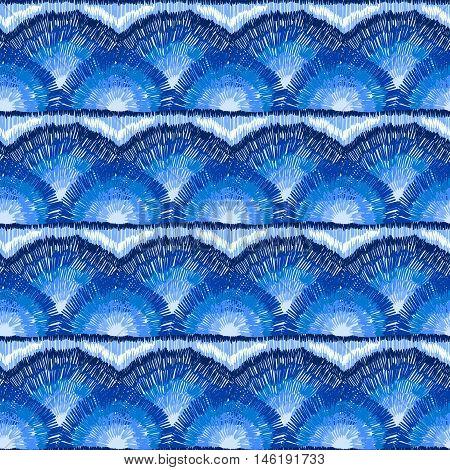 Ethnic Ikat Ornament Doodles Pattern Blue