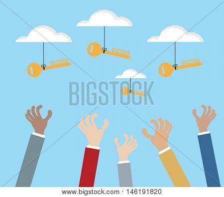 hand grabbing key of success from cloud business success concept vector illustration