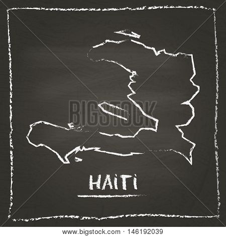 Haiti Outline Vector Map Hand Drawn With Chalk On A Blackboard. Chalkboard Scribble In Childish Styl