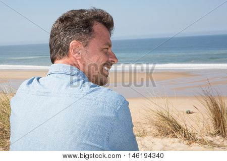 Profile View Of Handsome Middle Age Man In Casual Clothing