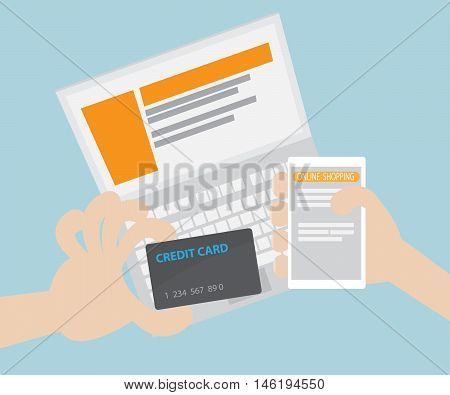 Online Shopping E-Commerce Concept Shopping Online with Credit Card Flat Design Vector Illustraion