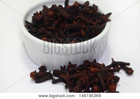 organic dry cloves isolated on white background