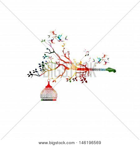 Creative music style template vector illustration, colorful guitar fretboard