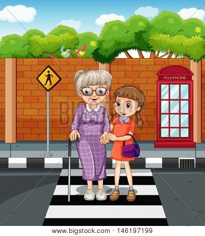 Girl and old lady crossing the road illustration