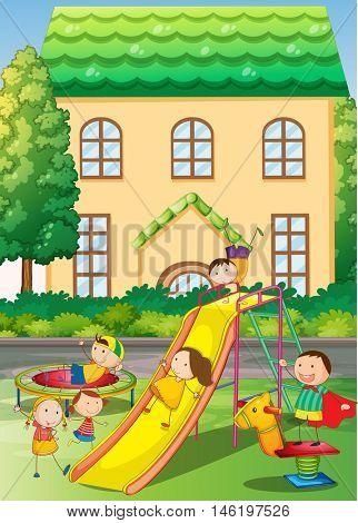 Children playing in the neighborhood playground illustration