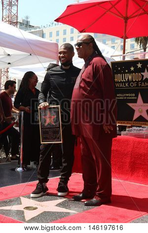 LOS ANGELES - SEP 7:  Usher Raymond, Stevie Wonder at the Usher Honored With a Star On The Hollywood Walk Of Fame at the Eastown on September 7, 2016 in Los Angeles, CA