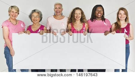Pink Ribbon Breast Cancer Girls Feminine Copy Space Banner Concept