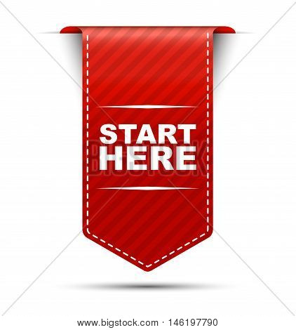 This is red vector banner design start here