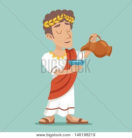 Pour drink jug bowl Roman Greek Retro Vintage Businessman Character Icon Water Vine Design Vector Illustration