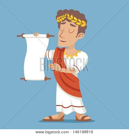 Scroll Declaration Roman Greek Retro Vintage Businessman Cartoon Character Icon Stylish Background Design Vector Illustration