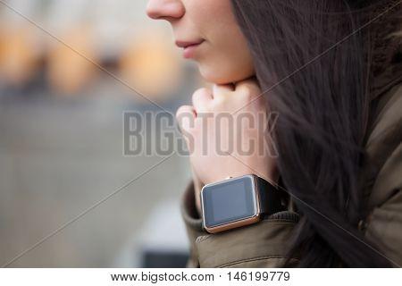 Trendy New Smart Watch On Her Hand
