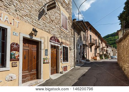 Molina Italy - May 07 2016: The street of Molina the little resort town in a Dolomites mountain