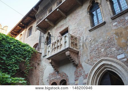 Verona Italy - May 07 2016: The balcony of Juliet located in the tourist heart of the city