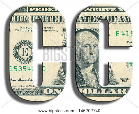 Cc Credit Rating. Us Dollar Texture.