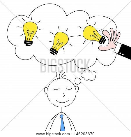 Cartoon illustration of a man stealing idea from another