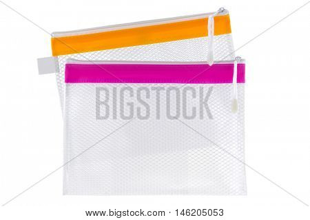Transparent clear Plastic PVC ideally used as cosmetic bag, stationery pencil case, document file isolated on white background
