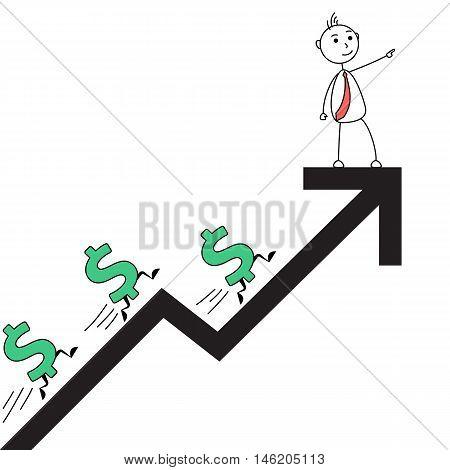 Cartoon man on rising arrow with dollar symbols