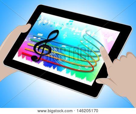 Music Tablet Online Indicates Soundtracks 3D Illustration