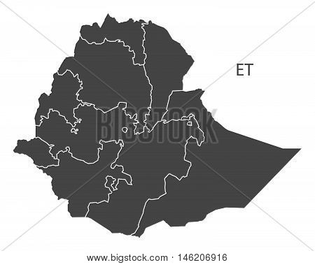 Ethiopia grey map with regions isolated vector high res
