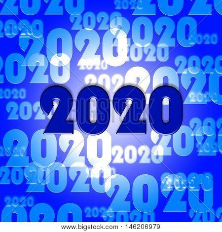 Two Thosand Twenty Indicates Year 2020 3D Illustration