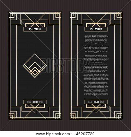 Vector geometric cards in Art Deco style. Premium vector abstract Art Deco design. Premium vector frame in luxury style. Golden menu with emblem.