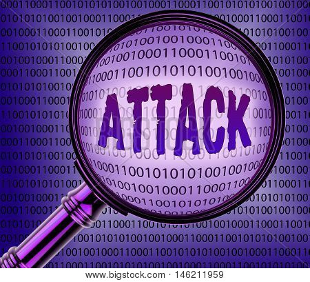 Cyber Attack Indicates Internet Assault 3D Rendering