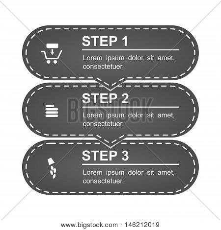 Infographics of shopping online. Three steps. The infographics are drawn in modern - retro - material design. Contains flat icons (add goods to cart, filling credentials, payment). Isolated vector.
