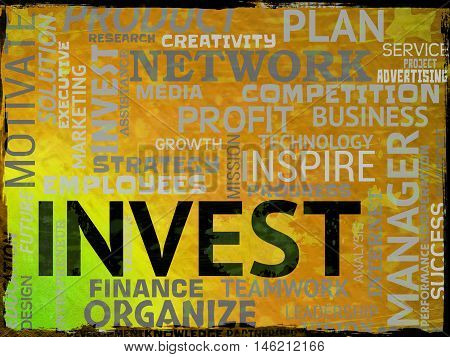 Invest Words Indicates Return On Investment And Shares