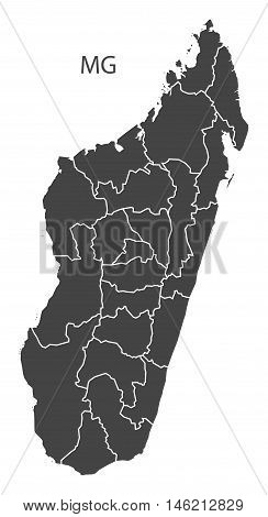 Madagascar grey map with regions isolated vector high res