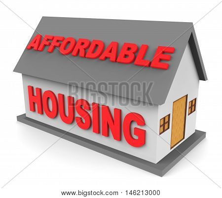 Affordable Housing Represents Low Cost House 3D Rendering