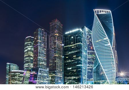 Moscow international business center Moscow City at night. Urban landscape metropolis night with skyscrapers