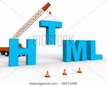 Produce Html Indicates Hypertext Markup Language 3D Rendering