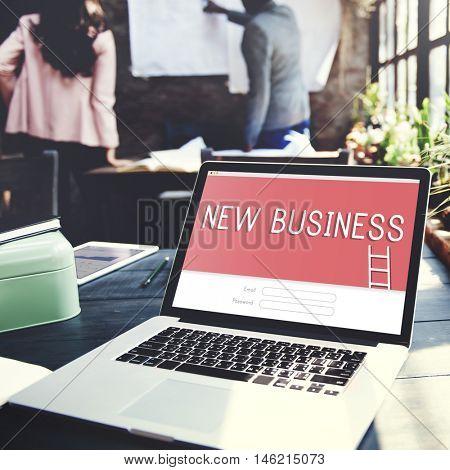 New Business Goals Strategy Target Login Concept