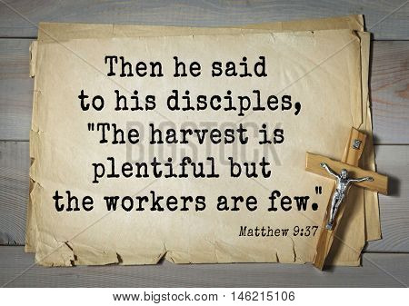 Bible verses from Matthew.Then he said to his disciples,