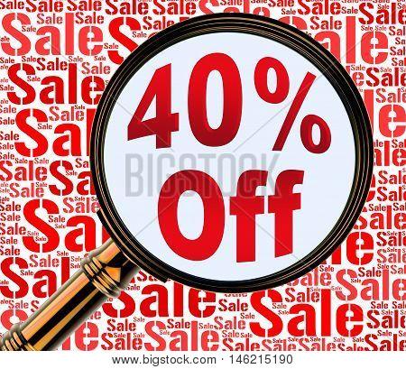 Forty Percent Off Represents 40% Discount 3D Rendering
